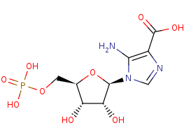 Picture of 5-amino-1-(5-phospho-D-ribosyl)imidazole-4-carboxylate (click for magnification)