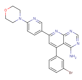 Picture of 4-amino-5-(3-bromophenyl)-7-(6-morpholino-pyridin-3-yl)pyrido[2,3-d]pyrimidine (click for magnification)