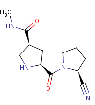 Picture of (3S,5S)-5-[[(2S)-2-cyanopyrrolidin-1-yl]carbonyl]-N-methylpyrrolidine-3-carboxamide (click for magnification)