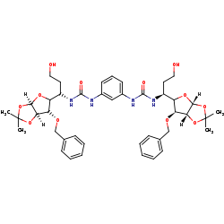 Picture of (29S,34S,36R,37R)-1,1'-(1,3-phenylene)bis(3-((S)-1-((3aR,6S,6aR)-6-(benzyloxy)-2,2-dimethyl-dihydro-5H-furo[3,2-d][1,3]dioxol-5-yl)-3-hydroxypropyl)urea) (click for magnification)