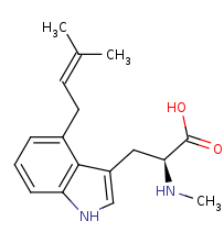Picture of 4-dimethylallyl-L-abrine (click for magnification)